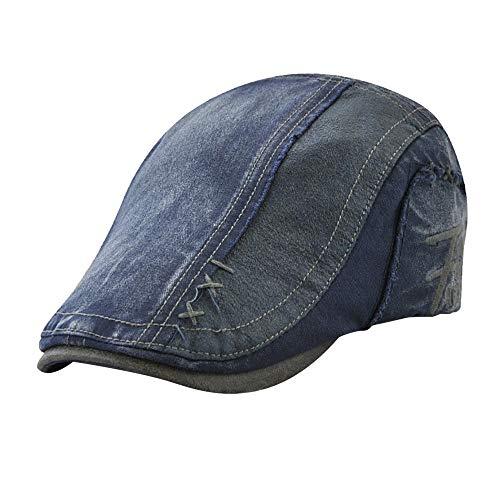 Lmtime Winter Warm Cap, Men Women Outdoor Vintage Ajustable Peaked Cap Newsboy Beret Pure Color Hat(Blue)