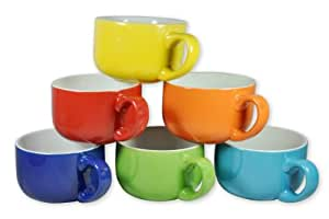 Francois et Mimi 14-Ounce Colored Ceramic Coffee/Soup Mugs, Large, Solid, Set of 6