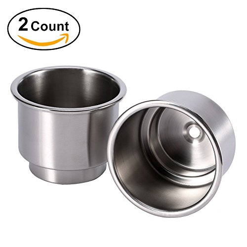 Stainless Steel Beverage Table - Stainless Steel Cup Drink Holder for Marine Boat RV Camper, Sliver(2pcs)