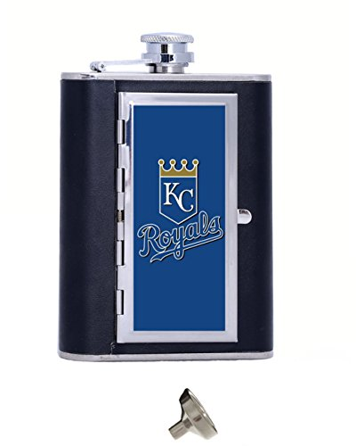 Baseball Kansas City Royals Image Custom Personalized Matte Stainless Steel 6 oz Hip Flask Gift Box With Cigarette Case,Cool Travel Container