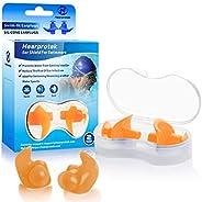 Hearprotek Swimming Ear Plugs, 2 Pairs Waterproof Reusable Silicone Ear Plugs for Swimmers Showering Bathing S