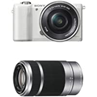 Sony Alpha a5000 Interchangeable Lens Camera with 16-50mm OSS and 55-210mm Lens (White)