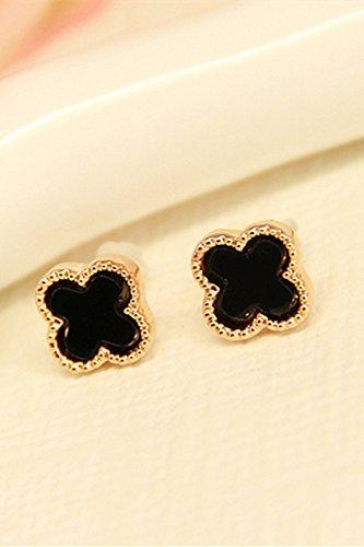 - HJPRT black-plated 18k rose gold earrings earings dangler eardrop clover women girls fashion creative crystal jewelry (classic black