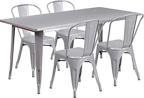 31.5''x63''Rectangle Silver Metal Indoor-Outdoor Restaurant Table Set w/4 Chairs