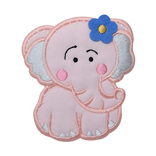 Childrens Pink Elephant Iron on Embroidered Applique for sale  Delivered anywhere in USA