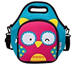ITZI BITZI Waterproof, Insulated Neoprene Lunch Bag for Kids with Adjustable Strap Unique, Fun Children's Lunch Bag and Backpack   Lightweight Lunch Tote - Owl