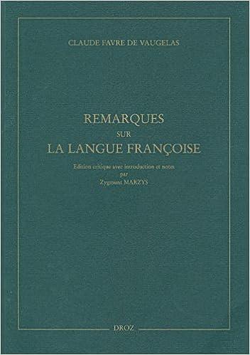 Remarques sur la langue françoise pdf, epub ebook