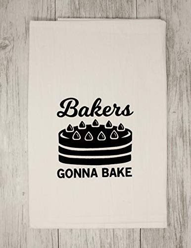 - Funny Dishcloth Tea Towel Screen Printed Flour Sack Cotton Kitchen Table Linens Bakers Gonna Bake