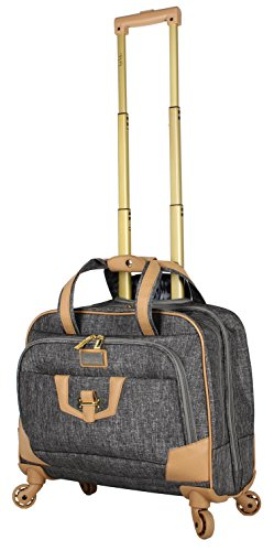 Nicole Miller New York Taylor Carry On Spinner Briefcase (Silver) (Leather New Weekend York)