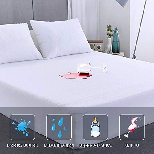 "Full Size Mattress Protector Fitted Waterproof Mattress Protector Full Bed Washable White Noiseless Premium Soft Cotton Terry Vinyl-Free Mattress Cover Full Size Bed for Pets Kids Adults 54"" x 75"""