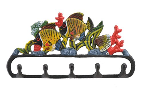 Cast Iron Wall Hook Rack Tropical Fish & Coral 11.125 Wide Beach Home Decor (Bright Tropical Fish)