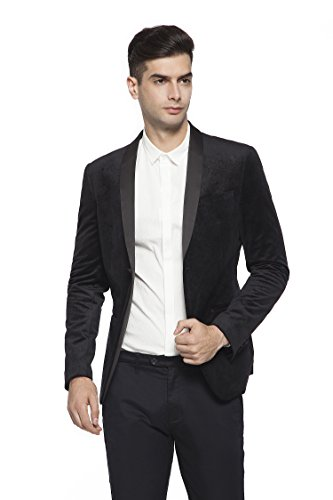 RLM Mens Peaked Lapel One Button Tuxedo Slim Fit Dinner Jacket (38, Black) (Peaked Lapel Jacket)