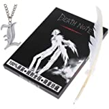 """Death Note Notebook with a Quiled Pen plus Nice """"L"""" Necklace as Gift Set"""