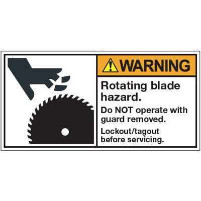 Vinyl ANSI Warning Labels - Warning Rotating Blade Hazard - 2''h x 4''w, White ROTATING BLADE HAZARD. DO NOT OPERATE WITH GUARD REMOVED. LOCKOUT/TAGOUT - Super-Stik Adhesive