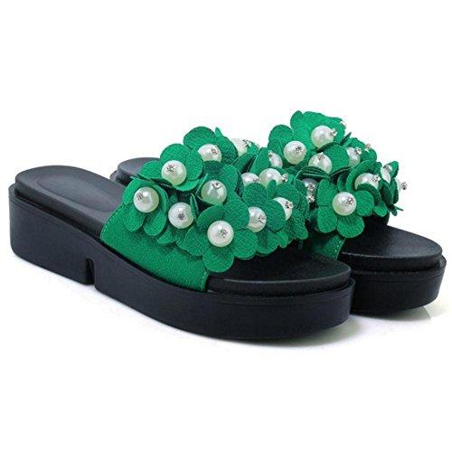 Taoffen Dames Slip Op Sliders Muilezels Schoenen Groen