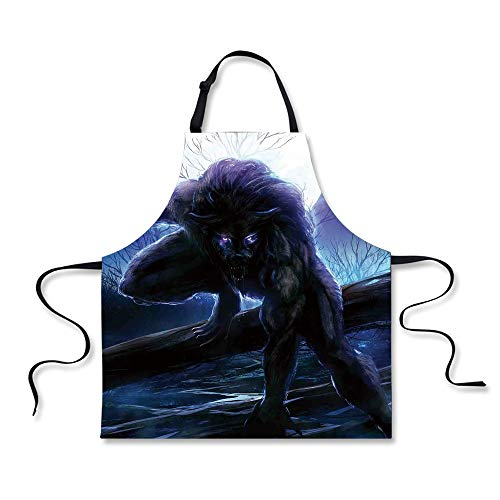 Cooking Apron,Fantasy World,Surreal Werewolf with Electric E