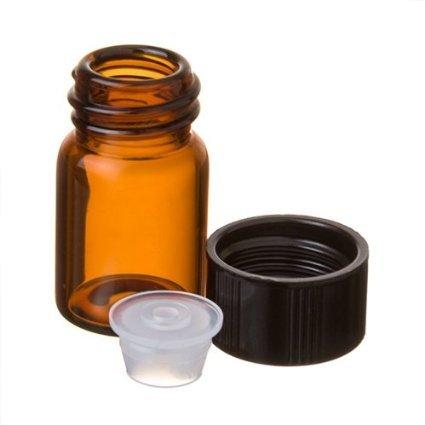 - 5/8 Dram Amber Glass Vial w/Cap and Orifice Reducer, Pkg of 144
