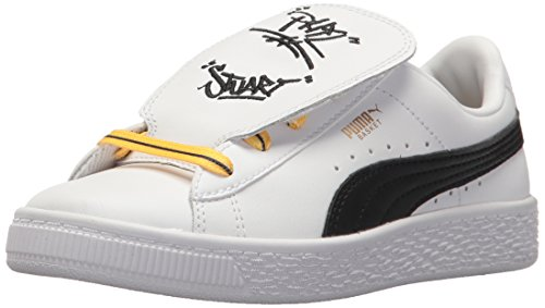 Picture of PUMA Unisex Basket Tongue Sneaker, White Black-Minion Yellow, 7 M US Big Kid