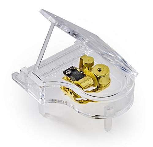 MusicBoxAttic Clear Acrylic 18 Note Grand Piano with Propped Lid - Over 400 Song Choices - Mary Had A Little Lamb