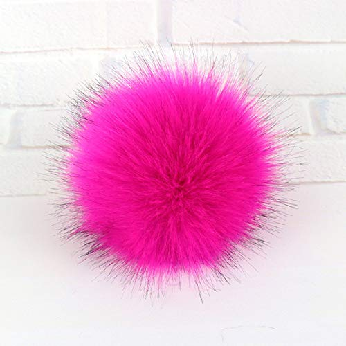 Dalab 16cm Multicolor Real Raccoon Mink Fox Fur Ball 5 Colorful Fur Winter Pom Poms for Shoe Bag Hat Fur Cap Accessories with Snap - (Color: Dark Pink)