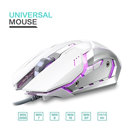 9d9ed7bc4da LINGYI Gaming Mouse, 6 Programmable Buttons, 4 Adjustable DPI Levels, 4  Circular & Breathing LED Light,Wired Mouse Used for Games and Office[ White]