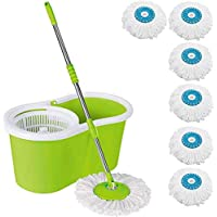 DAIVE's Mop Floor Cleaner with Bucket Set Offer with Big Wheels for Best 360 Degree Easy Magic Cleaning, Green with 6 Microfiber