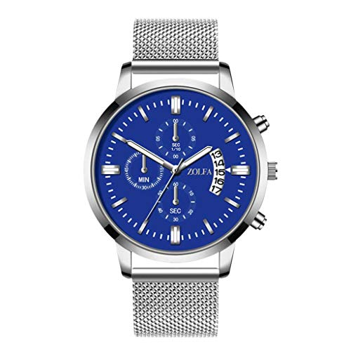 Mitiy Men's Fashion Chronograph Analog Quartz Watches with Stainless Steel Mesh Band