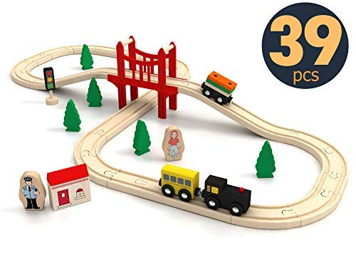 Wooden Train Set Starter 39-Piece Track Pack with Bridge Fits Thomas Brio Chuggington, Engine & Passenger Car, Kids Friendly Building & Construction | Expandable, Changeable | Fun for Girls & Boys ()