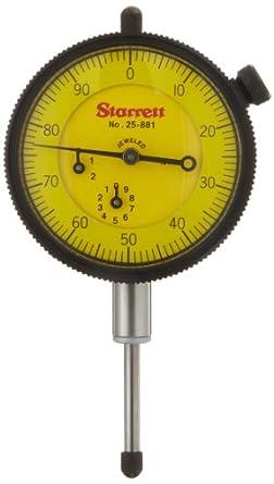Starrett 25-881J Dial Indicator, 9.525mm Stem Dia., Lug-on-Center Back, Yellow Dial, 0-100 Reading, 57.15mm Dial Dia., 0-25mm Range, 0.01mm Graduation