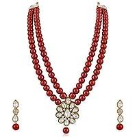 Meenaz Jewellery Gold Kundan Pearl Ruby Maang Tikka Necklace Jewellery Sets with Earrings for Women & Girls- NL-305