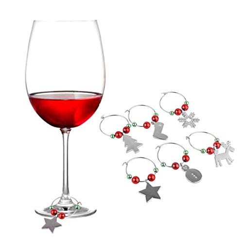 CHICTRY Set of 6 Christmas Theme Wine Glass Charms Tags Glass Goblet Drink Markers Rings for Home Xmas Party Table Decorations Housewarming Gifts Type C One Size