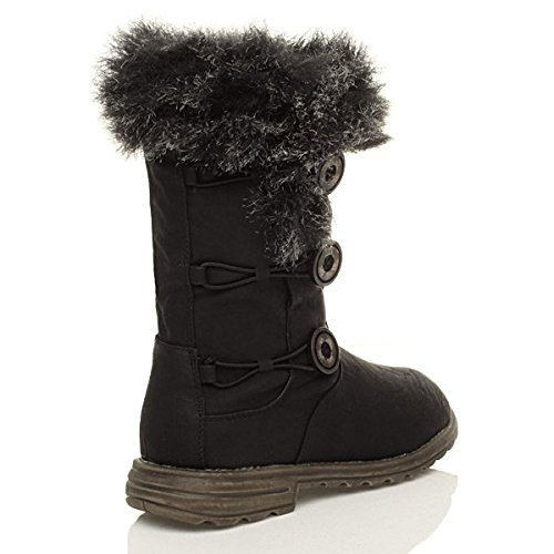 Womens heel ladies winter girls snow low boots button elastic size Brown lined flat fur calf SISCrqwn
