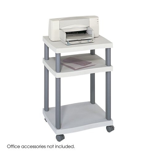 Wave Design Printer Stand, Three-Shelf, 20w x 17-1/2d x 29-1/4h, Charcoal Gray, Sold as 1 Each by Safco