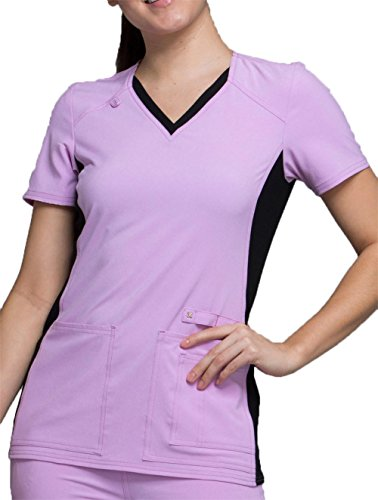 Cherokee Iflex by Women's V-Neck Knit Panel Solid Scrub Top Large Lilac Love with Black Contrast by Cherokee