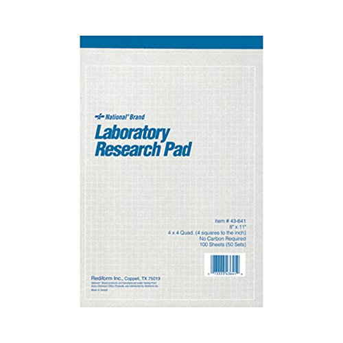National Brand Laboratory Research Pad, 4 x 4 Quad, Gray, Carbonless, 11 x 8.5 inches,  50 Sets (43641) by National