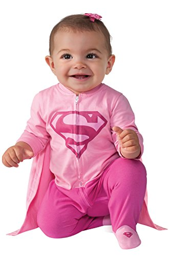 [Rubie's Costume Baby Girl's DC Comics Superhero Style Baby Supergirl Costume, Multi, 0-6 Months] (Halloween Costumes For The Family)