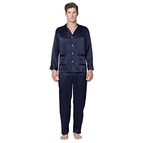 Intimo Men's Classic Silk Pajama Set, Navy, X-Large by Intimo