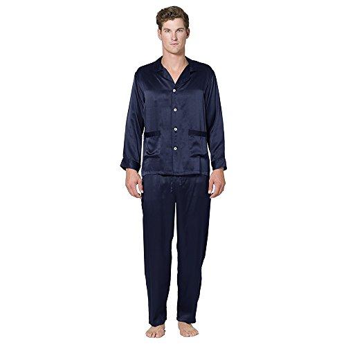 Intimo Men's Classic Silk Pajama Set, Navy, Small by Intimo