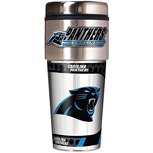 (NFL Carolina Panthers Metallic Travel Tumbler, Stainless Steel and Black Vinyl,)