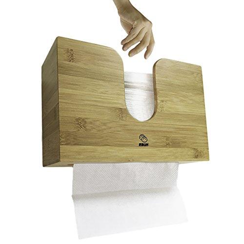 eBun C-Fold / Multifold Paper Towel Dispenser Bamboo - Counntertop & Wall Mounted - Dual Dispensing (Large) (Scottfold C-fold Paper Towels)