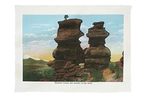 Lantern Press Colorado Springs, Colorado - View of The Siamese Twin Rock Formations 24738 (60x80 Poly Fleece Thick Plush Blanket)