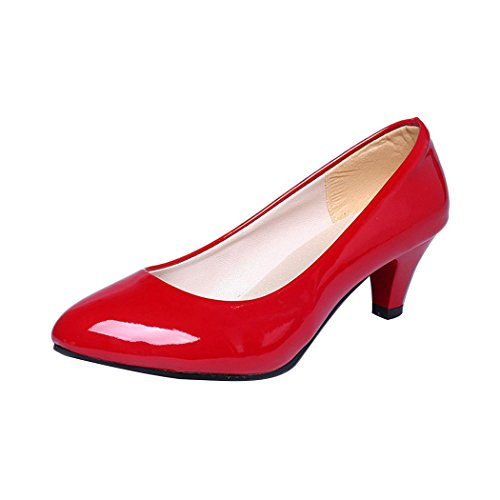 Inkach Womens Heeled Shoes - Ladise Classic Shallow Mouth Toe Casual Office Work Low Heel Shoes (CN:37(US:6.5), Red)