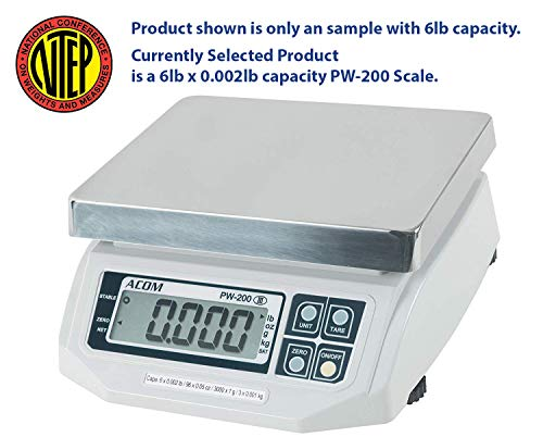 ACOM PW-200 Digital Portion Control Scale, Lb/Oz/Kg/g Switchable, Low Profile Design, 6lb Capacity, 0.002lb Readability, Single Display, NTEP Legal for Trade ()