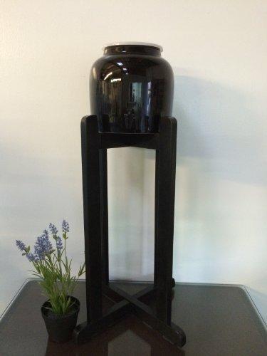 Porcelain Ceramic Water Dispenser Solid Black Spigot and Black Wood Floor Stand (Solid Black Porcelain)