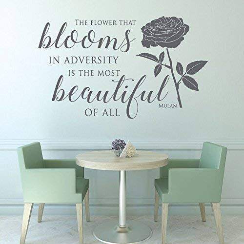 Disney Mulan Quote Wall Decals, Flower Blooms in Adversity | Vinyl Wall Art Decor for Living Room, Girls Bedroom, Hospital | Black, White, Pink, Purple, Yellow, Blue, 25 Colors ()
