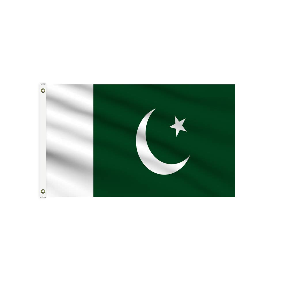 BannerBuzz Pakistan Flag Knitted Fabric 110 GSM - Lightweight, Bright & Vivid Colors, Brass Grommets Use for Indoor-Outdoor Purpose (3' X 2')