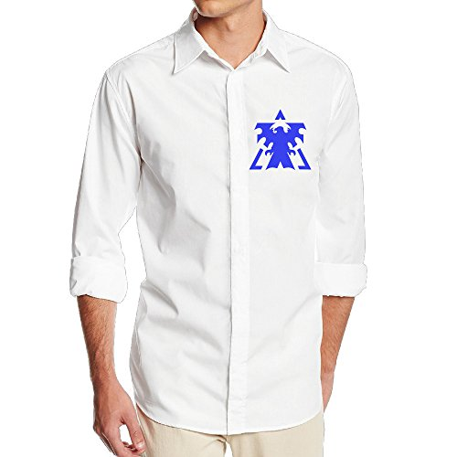Starcraft Terran Logo Greenday Men's Cool Long Sleeve Dress Shirt - SizeM White