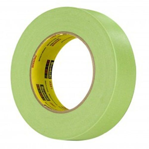 3M Scotch 233+ 26338-16 Crepe Paper Performance Masking Tape, 250 Degree F Performance Temperature, 25 lbs/in Tensile Strength, 60 yds Length x 1-1/2'' Width, Green (Case of 16 Rolls) by 3M