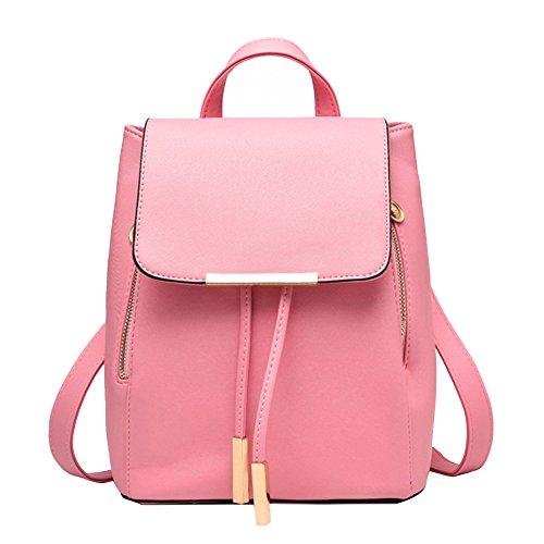 Mochila Bolso del Hombro Pu Piel Encantador y Elegante para Mujeres Verde Rosado