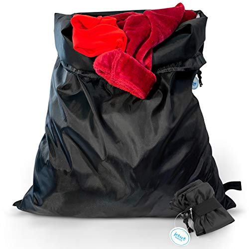 Jetset Oasis Large Travel Laundry Bag, Heavy Duty Drawstring Bag for Dirty Clothes, Machine Washable (2-Pack) - Elastic Band to Fold for Traveling (Black)